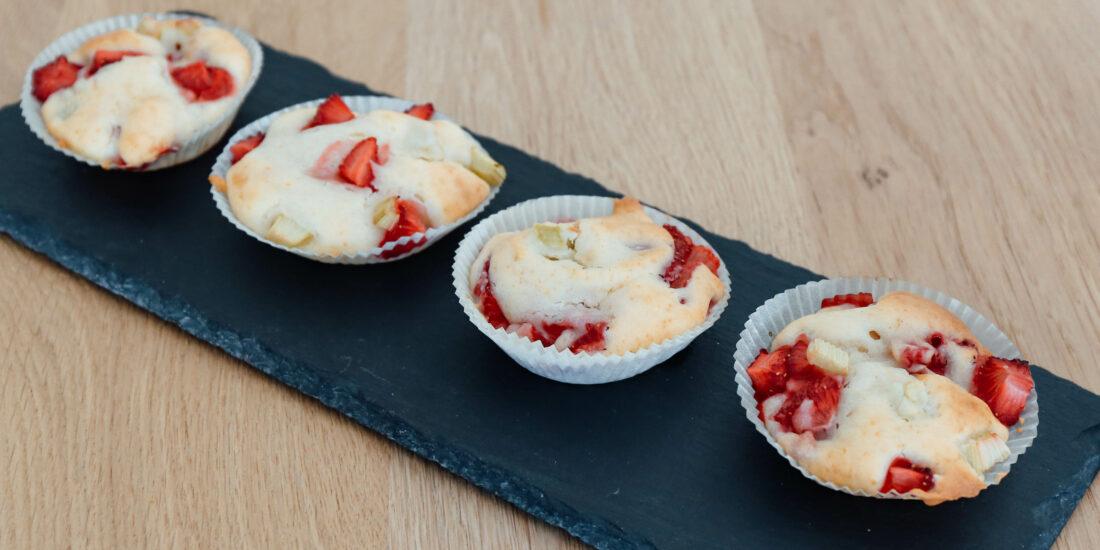 Erdbeer-Rhabarber Muffins-glutenfrei-laktosefrei